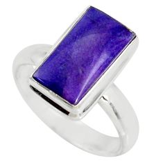 5.84cts natural purple sugilite 925 silver solitaire ring jewelry size 8 r34393