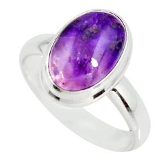 4.88cts natural purple sugilite 925 silver solitaire ring size 8.5 r34382
