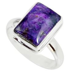5.08cts natural purple sugilite 925 silver solitaire ring size 7.5 r34389