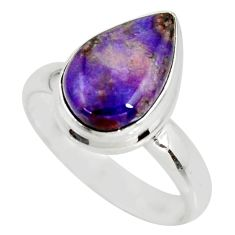 5.53cts natural purple sugilite 925 silver solitaire ring size 8.5 r34396