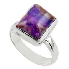 5.52cts natural purple sugilite 925 sterling silver ring jewelry size 7.5 r45014