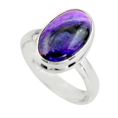 5.58cts natural purple sugilite 925 sterling silver ring jewelry size 7.5 r45015