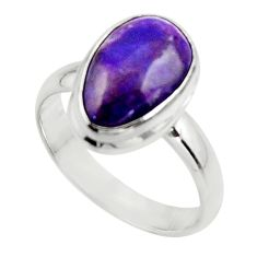 5.32cts natural purple sugilite 925 sterling silver ring jewelry size 8.5 r45017