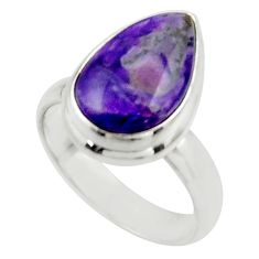 5.72cts natural purple sugilite 925 sterling silver ring jewelry size 7 r45019