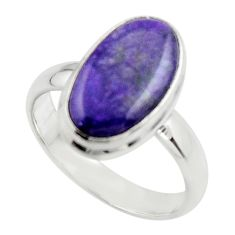 5.69cts natural purple sugilite 925 sterling silver ring jewelry size 9 r45018