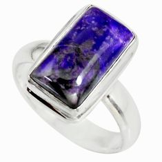4.73cts natural purple sugilite 925 sterling silver solitaire ring size 7 r34388