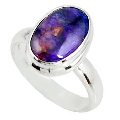 5.07cts natural purple sugilite 925 sterling silver solitaire ring size 8 r34387