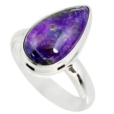 6.04cts natural purple sugilite pear 925 silver solitaire ring size 8 r34392