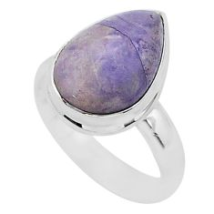 6.13cts natural purple tiffany stone 925 silver solitaire ring size 6.5 r95792