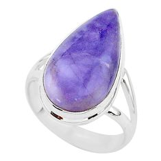 9.23cts natural purple tiffany stone 925 silver solitaire ring size 7 r95775