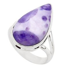 13.73cts natural purple tiffany stone 925 silver solitaire ring size 8 r95774