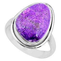 10.31cts natural purpurite stichtite 925 silver solitaire ring size 8.5 r73373