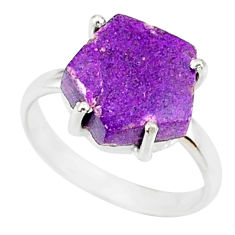 4.45cts natural purpurite stichtite 925 silver solitaire ring size 6 r81886