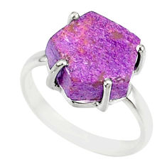 4.50cts natural purpurite stichtite 925 silver solitaire ring size 6 r81902