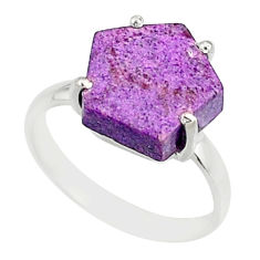 4.50cts natural purpurite stichtite 925 silver solitaire ring size 6 r81903