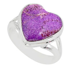 7.24cts natural purpurite stichtite 925 silver solitaire ring size 6 r84716