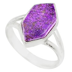 5.22cts natural purpurite stichtite 925 silver solitaire ring size 7 r80141