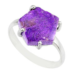 4.57cts natural purpurite stichtite 925 silver solitaire ring size 7 r81927