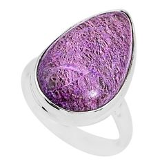 12.72cts natural purpurite stichtite 925 silver solitaire ring size 7 r95590