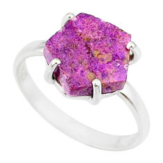 4.45cts natural purpurite stichtite 925 silver solitaire ring size 8 r81887