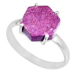 4.57cts natural purpurite stichtite 925 silver solitaire ring size 8 r82041