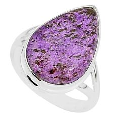 12.93cts natural purpurite stichtite 925 silver solitaire ring size 9 r95594