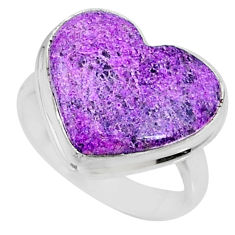 9.47cts natural purpurite stichtite heart silver solitaire ring size 6.5 r73376