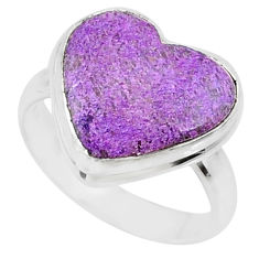 9.10cts natural purpurite stichtite heart silver solitaire ring size 8.5 r73377