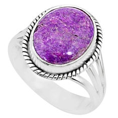 5.56cts natural purpurite stichtite oval silver solitaire ring size 8 r73366