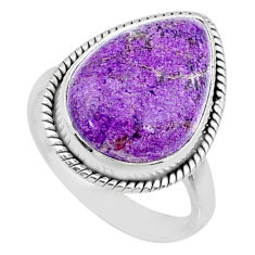 10.78cts natural purpurite stichtite pear silver solitaire ring size 8 r73374