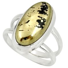 6.96cts natural pyrite in magnetite 925 silver solitaire ring size 7.5 r27230