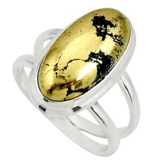 6.96cts natural pyrite in magnetite 925 silver solitaire ring size 7.5 r27236