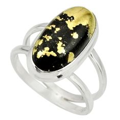 6.57cts natural pyrite in magnetite 925 silver solitaire ring size 8.5 r27237