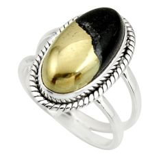 6.76cts natural pyrite in magnetite 925 silver solitaire ring size 8 r27233