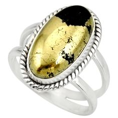 6.68cts natural pyrite in magnetite 925 silver solitaire ring size 8 r27235