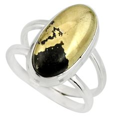 6.75cts natural pyrite in magnetite 925 silver solitaire ring size 8 r27240