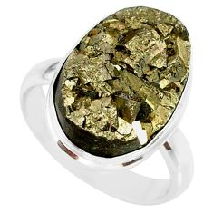 14.19cts natural pyrite on basalt matrix silver solitaire ring size 8.5 r85764