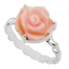 4.52cts natural queen conch shell flower silver solitaire ring size 8.5 r48854