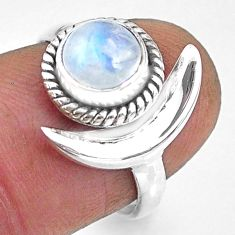 2.30cts natural rainbow moonstone 925 silver adjustable moon ring size 7 r89635
