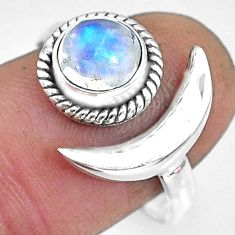 2.32cts natural rainbow moonstone 925 silver adjustable moon ring size 9 r89636