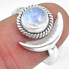 2.41cts natural rainbow moonstone 925 silver adjustable moon ring size 9 r89637