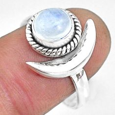 2.37cts natural rainbow moonstone 925 silver adjustable moon ring size 9 r89638