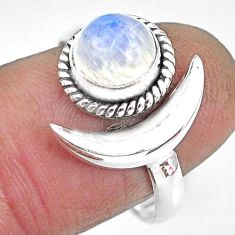2.42cts natural rainbow moonstone 925 silver adjustable moon ring size 9 r89640