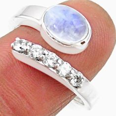 3.91cts natural rainbow moonstone 925 silver adjustable ring size 8.5 r54554