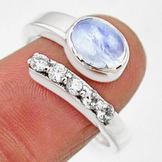 3.91cts natural rainbow moonstone 925 silver adjustable ring size 8.5 r54559