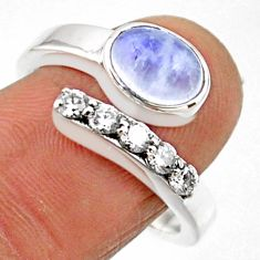 3.56cts natural rainbow moonstone 925 silver adjustable ring size 8.5 r54575