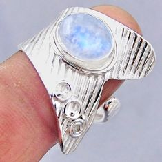 4.51cts natural rainbow moonstone 925 silver adjustable ring size 8.5 r54860