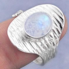 3.89cts natural rainbow moonstone 925 silver adjustable ring size 8.5 r63338