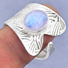 4.06cts natural rainbow moonstone 925 silver adjustable ring size 8.5 r63359