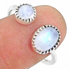 2.75cts natural rainbow moonstone 925 silver adjustable ring size 8.5 r68918